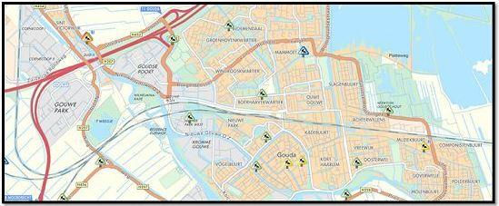 Illustratieve kaart met wegwerkzaamheden in Gouda