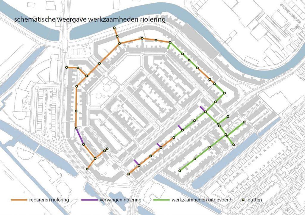 Kaart van de Vogelbuurt waar de werkzaamheden aan de riolering op staan. Een deel wordt gerepareerd, een deel vervangen en een deel is klaar.