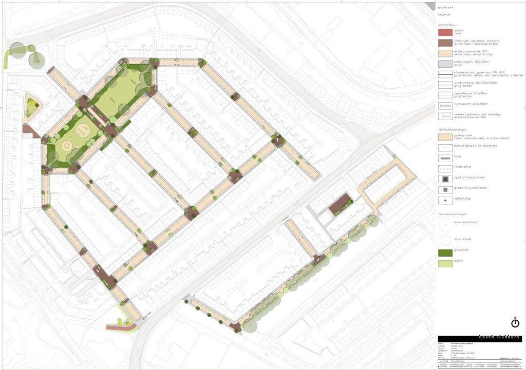 Kaart van de Vogelbuurt met daarop het ontwerp van de openbare ruimte en de keuze voor de bomen,