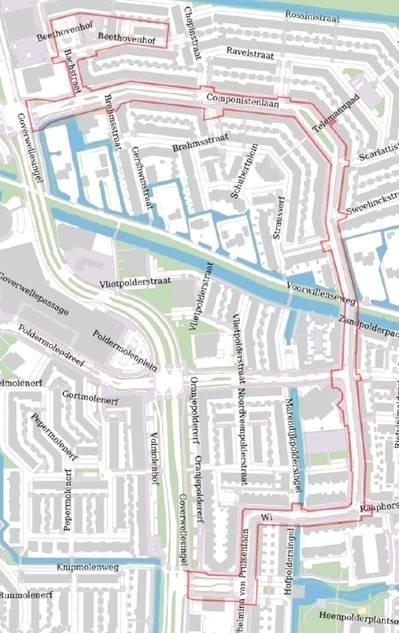 Kaartje van Goverwelle-Oost waarop de straten gekleurd zijn aangegeven waar de werkzaamheden komen. Het Lakepolderplein, de Wilhelmina van Pruisenlaan, de Componistenlaan, de Bachstraat en een deel van het Beethovenhof.