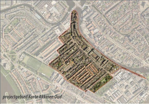 Luchtfoto met daarop aangegeven in welke straten het riool vernieuwd wordt. Het gaat om het gebied dat ongeveer begrensd wordt door de Turfsingel, Vorstmanstraat, Bosweg, Lethmaetstraat, Prinses Julianastraat, Snoystraat en de Prins Hendrikstraat.