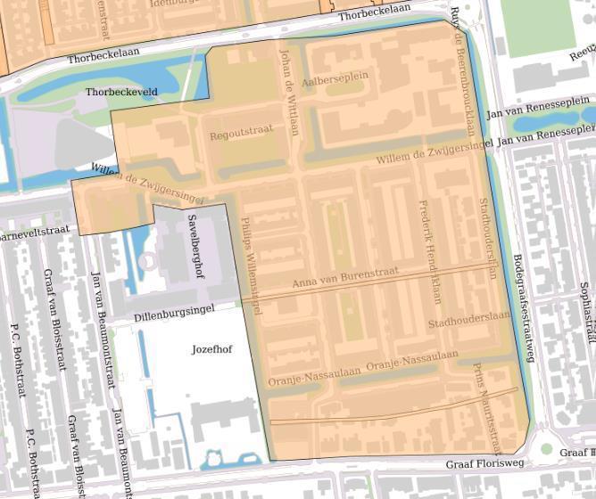 Kaart van het gebied van de werkzaamheden rioolvervanging Ouwe Gouwe Zuid.