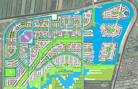 Getekende kaart van de nieuwe wijk Westergouwe.