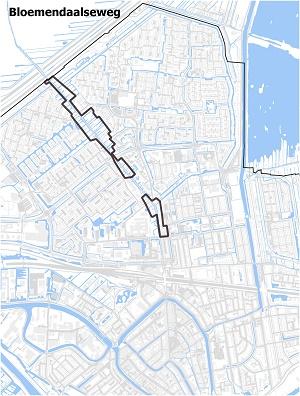 Kaart waarop de Bloemendaalseweg staat ingetekend