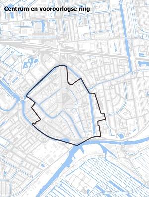 Kaart waarop het centrum en de vooroorlogse ring staan ingetekend
