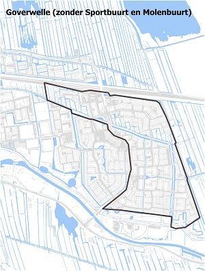 Kaart waarop Goverwelle staat ingetekend