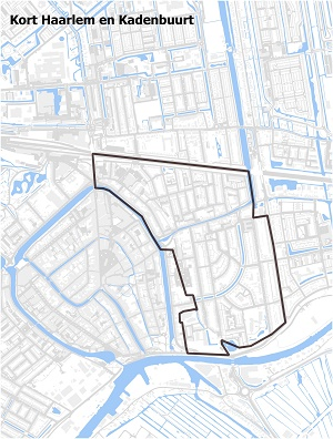 Kaart waarop Kort Haarlem en Kadenbuurt staan ingetekend