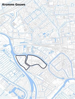Kaart waarop Kromme Gouwe staat ingetekend