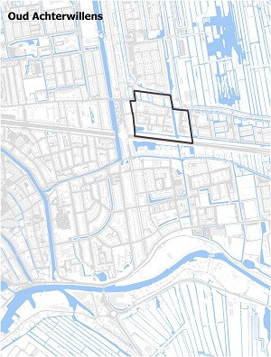 Kaart waarop Oud Achterwillens staat ingetekend