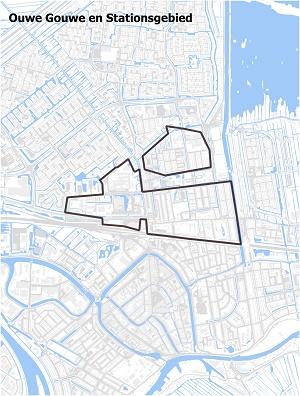 Kaart waarop Ouwe Gouwe en het stationsgebied staan ingetekend