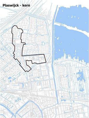 Kaart waarop Plaswijck-kern staat ingetekend