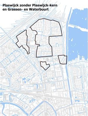 Kaart waarop Plaswijck zonder Plaswijck-kern en de Water- en Grassenbuurt staat ingetekend