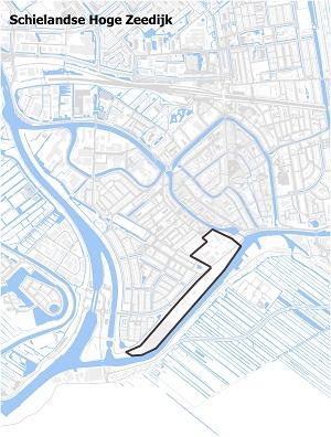 Kaart waarop Schielands Hoge Zeedijk staat ingetekend