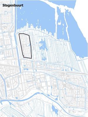 Kaart waarop Slagenbuurt staat ingetekend