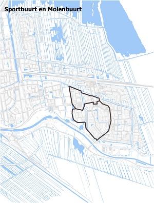 Kaart waarop Sportbuurt en Molenbuurt staan ingetekend