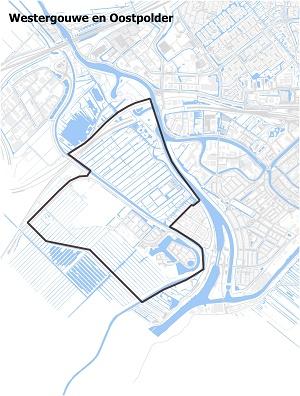 Kaart waarop Westergouwe en Oostpolder staan ingetekend